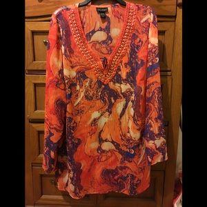 Lane Bryant orange beaded long sleeve blouse